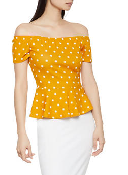 Polka Dot Off the Shoulder Peplum Top - 1001058750883