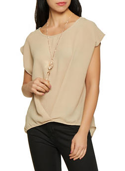 Textured Knit High Low Top - Beige - Size L - 1001058751066