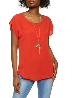 Crepe Knit Top with Necklace - 1001058751144