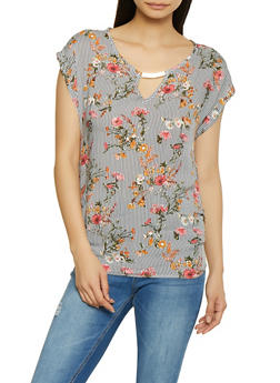 Ruched Striped Floral Top - 1001058751150