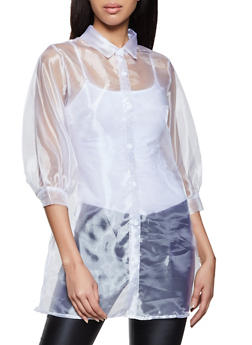 Organza Bubble Sleeve Shirt - 1001058751243