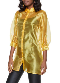 Organza Bubble Sleeve Shirt - 1001058751243