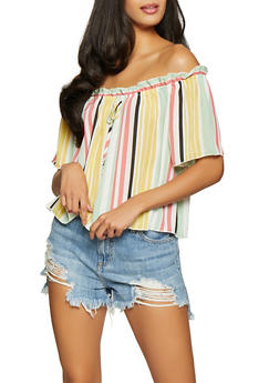 Striped Off the Shoulder Top - 1001058751258