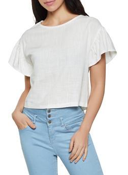 Linen Short Sleeve Top - 1001058751597