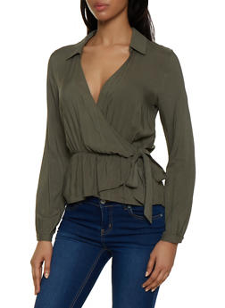 Faux Wrap Collared Top - 1001058751902