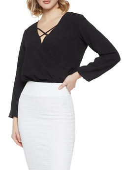 Caged Faux Wrap Top - 1001058751923