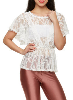 Sheer Lace Peplum Top - 1001058751955