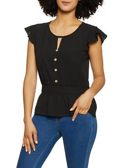 Faux Button Front Flutter Sleeve Peplum Top - 1001058751965