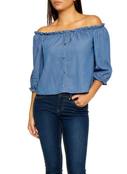 Off the Shoulder Button Detail Top - 1001058751975