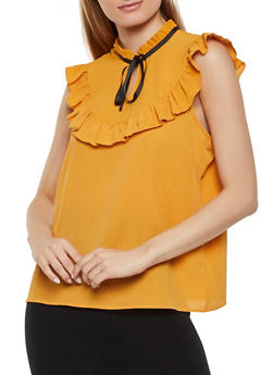Tie Neck Ruffle Trim Top - 1001058751994
