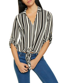 Striped Tie Front Blouse - BLACK/WHITE - 1001058752006