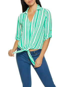 Striped Tie Front Blouse - 1001058752006