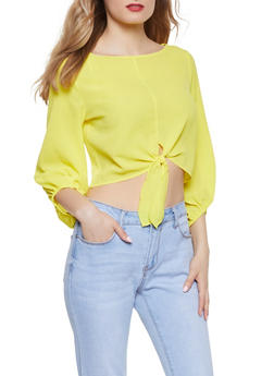 Tie Front Crepe Knit Crop Top - 1001058752030