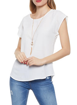 Scoop Neck Crepe Knit Top with Necklace - 1001058752144