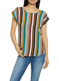 Striped Crepe Knit Top - 1001058752148