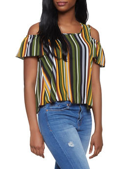Striped Cold Shoulder Top - 1001058752153