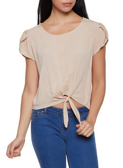 Split Sleeve Tie Front Top - 1001058752156