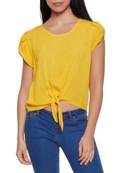 Split Sleeve Tie Front Top - 1001058752156
