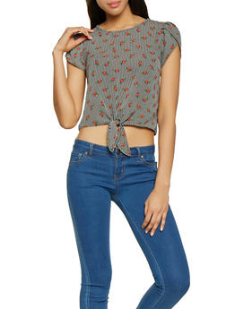 Striped Rose Print Tie Front Tee - 1001058752158