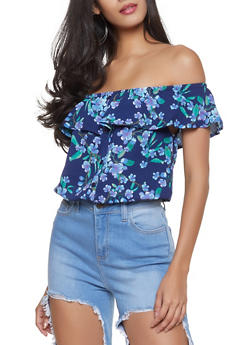 Floral Off the Shoulder Top - 1001058752239