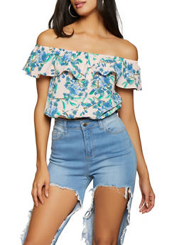 Floral Off the Shoulder Top - 1001058752239