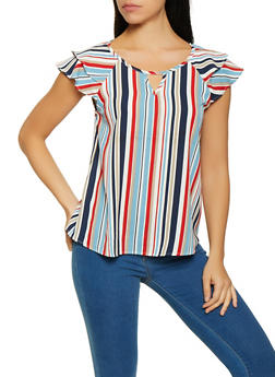 Tiered Sleeve Striped Top - 1001058752263