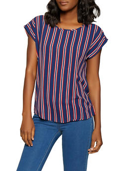 Striped Crepe Knit Top - 1001058752265