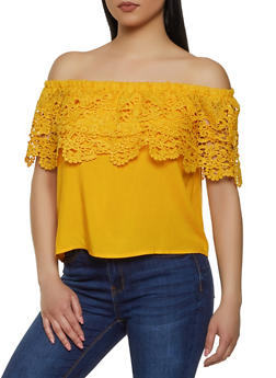 Crochet Overlay Off the Shoulder Top - 1001058752341