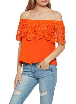 Crochet Overlay Off the Shoulder Top - 1001058752341