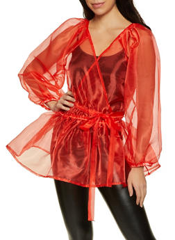 Organza Puff Sleeve Faux Wrap Top - 1001058752674