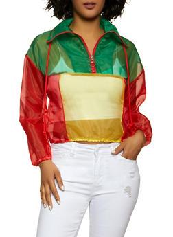 Organza Color Block Windbreaker Jacket - 1001058753151