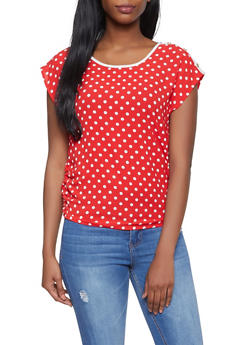 Ruched Polka Dot Top - 1001058753152