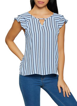 Striped Tiered Sleeve Top - 1001058753226