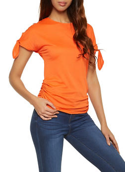 Ruched Tie Sleeve Top - 1001058754341