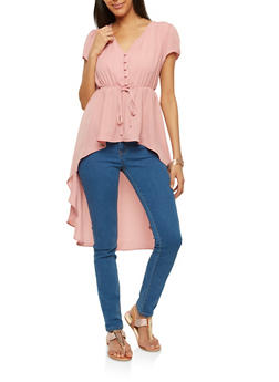 Elastic Waist High Low Hem Blouse - 1001058759981