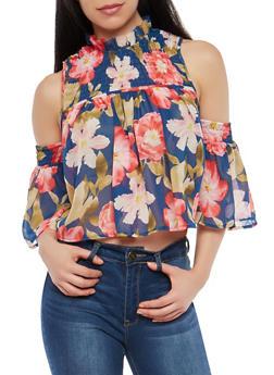 Floral Smocked Cold Shoulder Top - 1001074290160