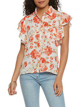 Floral Button Front Top - 1001074290451