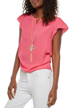 Short Sleeve Ruched Top with Necklace - 1001074290460