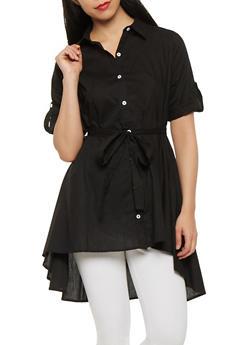 High Low Poplin Shirt - 1001074290466