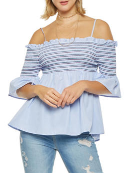 Smocked Off the Shoulder Striped Top - 1001074290475