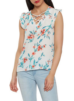Printed Lace Up Top - 1001074291456