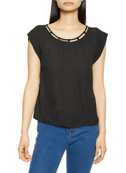 Caged Scoop Neck Blouse - 1001074292091