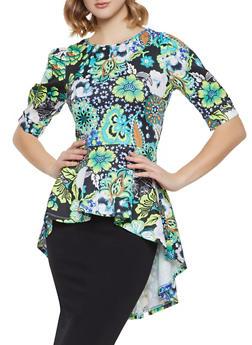 Floral Scuba Peplum Top - 1001074292103