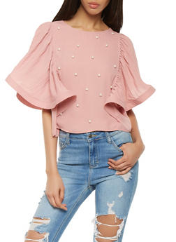 Faux Pearl Pleated Sleeve Top - 1001074292113