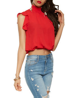 Smocked Neck Flutter Sleeve Top - 1001074292117