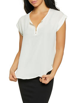 Zip Neck Cap Sleeve Blouse - 1001074292400