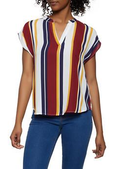 Striped Cap Sleeve Blouse   1001074292401 - 1001074292401
