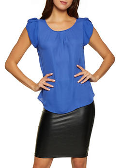 Tulip Cap Sleeve Blouse | 1001074292402 - 1001074292402