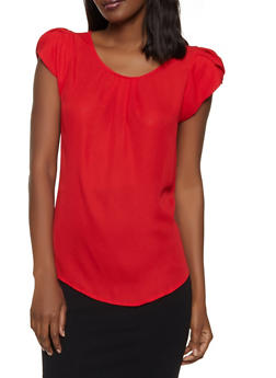 Tulip Cap Sleeve Blouse | 1001074292402 - Red - Size M - 1001074292402
