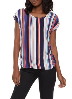 Ruched Side Striped Top - 1001074292405